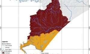 MAPA - Bacia do Rio Araranguá em Vermelho e Afluentes do Rio Mampituba em Amarelo